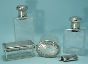 French Guilloche Silver Clear Etched Glass Vanity Set Sterling Snuff Bottle