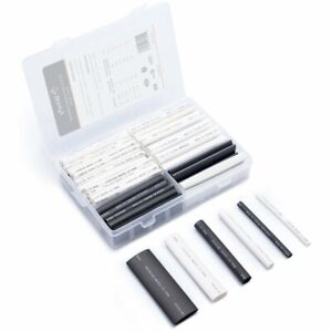 Wirefy 130 Pcs Black White Heat Shrink Tubing Kit 3 1 Dual Wall With Adhesive