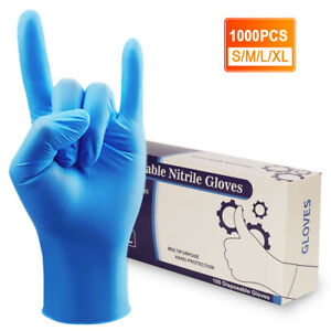 100 1000pcs Nitrile Gloves Powder Latex Free Thicken 4 Mil Durable Rubber S m xl