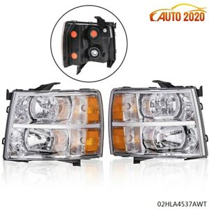For 07 14 Chevy Silverado Clear Headlight Lamp Amber Corner Chrome Housing