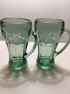 Vintage Green Coca Cola Mugs With Handles - Set Of 2 Coke Glasses. (667)