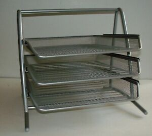 3 Tier Document File Organizer Rack Desk Letter Tray Mesh Metal Silver