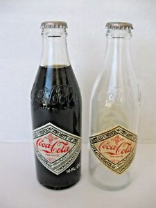 COCA COLA 75th ANNIVERSARY BOTTLES Dallas  TX 1902 Set of 2 bottles-1Full&1Empty