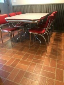 Vintage Formica Red And Gray Table And Chair Kitchen Set 1950s Era