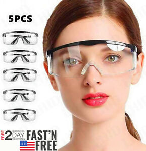 5 1pcs Safety Goggles Over Glasses Lab Work Eye Protective Eyewear Clean Lens