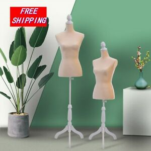 Mannequin Female Torso Clothing Dress Form Shop Display W white Tripod Stand