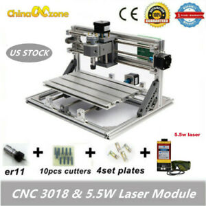 3018 Cnc Router Engraving Carving Milling Cutting Machine 5 5w Laser Module Us