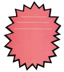 Pink Burst Display Signs Retail Store Price Sign Tags 200 Piece Lot