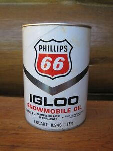 Vintage Phillips 66 IGLOO Snowmobile OIL 1 Quart Can FULL Unopened