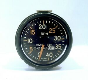 Vintage 1940s 50s Ac Tachometer 4000 Rpm Hour Meter W 0 Hours Showing