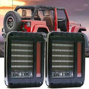 2x Led Rear Tail Light Brake Turn Signal Reverse For 07 17 Jeep Wrangler Jk Blk