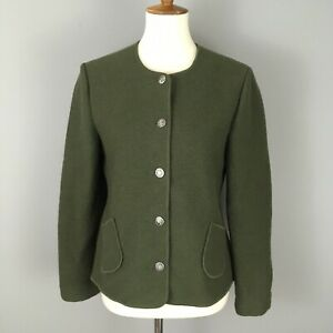 Geiger Collection Boiled Wool Green Cardigan Sweater Size 40 Womens M 10 Pockets