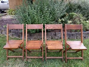 Antique Vintage Slat Wood Folding Chair Snyder Chair Co Usa