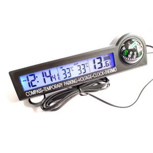 11 5x3x4cm Lcd Digital Display Thermometer 12v Voltage Meter Kits Fit For Car