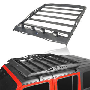 Storage Cargo Luggage Carrier Roof Rack W Led Lights For Jeep Wrangler Jl 18 20