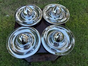 Vintage Rally Wheel Covers Hubcaps Chrome Bullet Style Rat Hot Rod