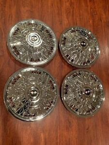 New Set Of 1970 1996 Fits Impala Caprice Wire Spoke 15 Hubcaps Wheelcovers