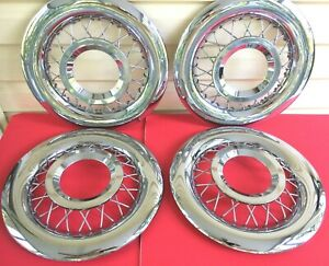 Very Nice 55 56 Ford Wire Spoke Hub Caps 15 Wheel Covers W Centers Make Offer