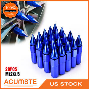 20pcs Blue Spiked Aluminum Extended Tuner M12 X 1 5 60mm Wheel Lug Nuts Rims