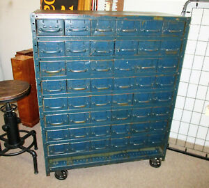 Vintage Industrial Equipto Muti Draw Parts Cabinet