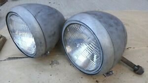 1938 1939 Ford Truck Headlight Assemblies Original Pair Sealed Beam Conversion