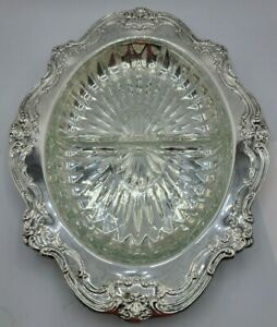 Gorham Original Vintage Silver Plated Serving Tray With Divided Crystal Insert