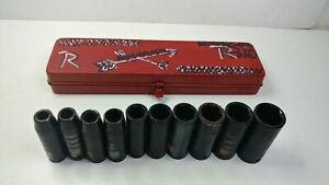Vintage Chrome Vanadium Socket Set 10 Piece 1 To 3 8