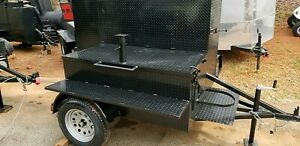 Mega Smoke House Bbq Smoker W Side Pro Grill Chimney Trailer Food Truck Catering