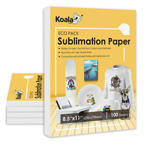 Koala 100 Sheets 8 5x11 Dye Sublimation Heat Transfer Paper Epson Inkjet Printer