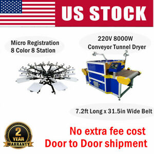 Micro Registration 8 Color Manual Screen Printing Press Conveyor Tunnel Dryer