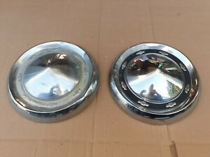 2 Vintage 55 Chevrolet Bel Air Bow Tie Dog Dish Hubcaps