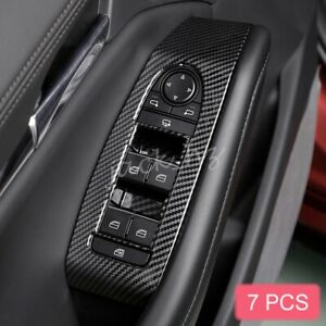 Carbon Fiber Door Window Switch Panel Cover Trims For 2019 2020 Mazda 3 Cx 30