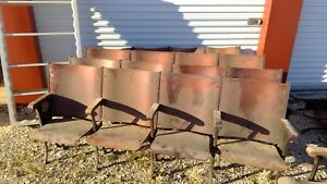 Antique 1924 Wood Theater Seats Set Of 4