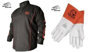 Welding Jacket Black With Red Flames With Tig Welding Glove Bx9c 35kf X large