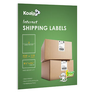 220 Half Sheet Shipping Labels 8 5x5 5 Self Adhesive Fba Mailing 2 Per Sheet