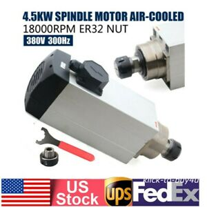 380v 4 5kw Water Cooled Spindle Motor Er32 Collet For Cnc Router Machine