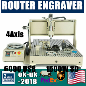 Usb 4axis Cnc 6090 1500w Router Engraver Cutting 3d Milling Drilling Machine New