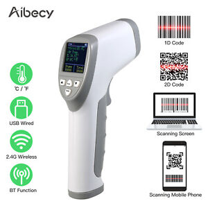 Aibecy Handheld 3 in 1 Barcode Scanner Forehead Thermometer 1d 2d qr Bar Q7k5