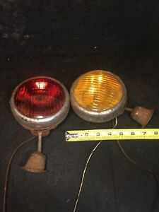 2 Antique Vintage Tractor Lights Rear Lamps Rat Rod Fog Amber Lights