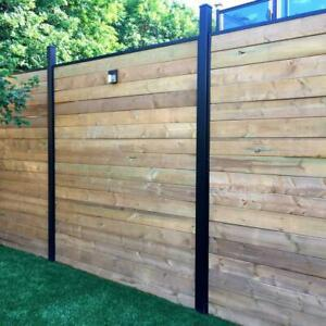 Black Aluminum 6 Ft Fence Rail Channel Kit Composite Fencing Powder Coated New