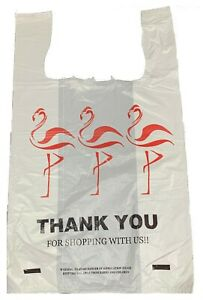 Flamingo Jumbo Thank you T shirt Plastic Shopping Bags Handles Lot 1000