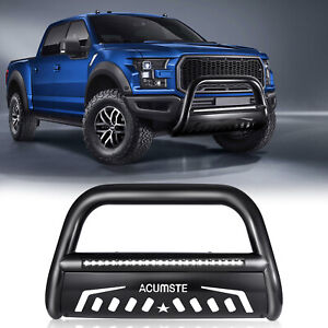 Black Bull Bar Bumper Guard W Led Light For 2004 20 Ford F 150 03 17 Expedition