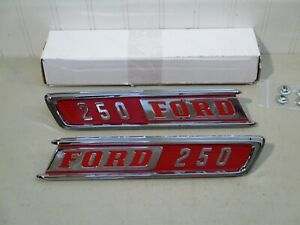 New 1967 Ford F 250 Pickup Truck Chrome Hood Side Emblems pair nice