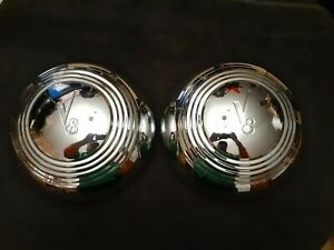 2 Vintage 1930 s 1939 Ford Deluxe Chrome Coupe Sedan Roadster Hubcaps