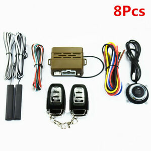 8pcs Car Alarm System Keyless Entry Engine Start Push Button Remote Starter Kit