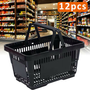 12pcs Black Plastic Shopping Baskets Grocery Convenience Store Retail Tote Usa