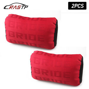 2pcs Bride Red Fabric Headrest Pillow Supports Neck Rest Racing Seat Material