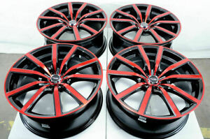 18 Wheels Honda Civic Accord Crv Prelude Lexus Is250 Impreza Wrx Black Red Rims