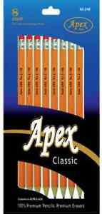 Apex 2 Pencils 8 Count Yellow Pre sharpened