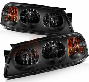Black Fits 2000 2005 Chevy Impala Headlamp Assembly Driver Passenger Sides
